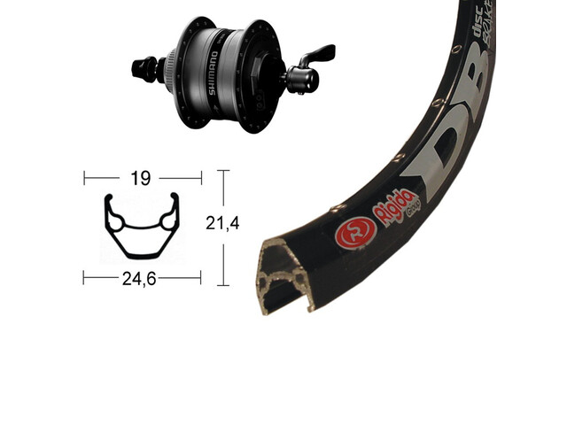 Ryde Roue avant - 28 x 1.75, Shimano DH3D36 noir